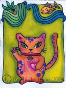 Watercolor.  Purple polkadotted Maneki Neko.